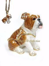 Brown White Bulldog Puppy Dog Bejeweled Trinket Box
