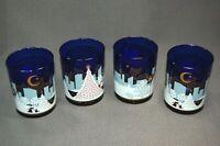Noritake 'Twas the Night Before Christmas' 4PC Old Fashion Cobalt Blue Barware