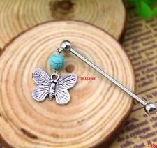 Stainless Steel Industrial Bar Scaffold Turquoise Butterfly Stone Piercing
