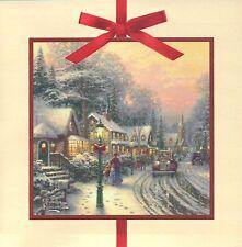 Village Christmas -- Thomas Kinkade Christmas Card with Message --- Not Postcard