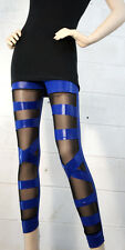Criss Cross Leggings Look Cut Out Ripped Torn Stretchy Pant Gothic Sheer Cutout