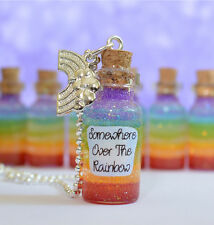 Somewhere Over The Rainbow  Bottle Pendant Necklace, film, Wizard of Oz Inspired
