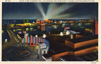 1933 Chicago World's Fair Night View Showing Hall Of Science