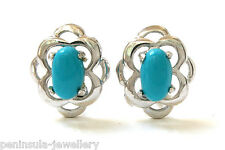 Sterling Silver Turquoise Celtic Studs Earrings Gift Boxed Made in UK