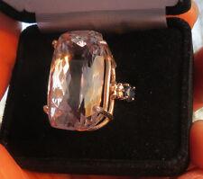 Estate 40.59 carat Kunzite &.65 ct diamond, sapphire 14k yellow gold ring Sz 7