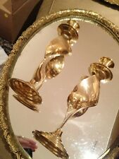 Antique Brass Old Hollywood Twist Candle Sticks Stunning Find