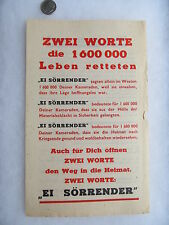 Orig. WWII Surrender Leaflet / Flyer, Dropped from Plane Over Germany, Airplane