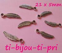 LOT de 15 PENDENTIFS ARGENTES perles breloques PLUMES FEATHER 21x5mm FIMO bijoux