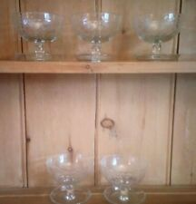 Set of 5 Vintage Glass Sundae Dishes, Good Condition