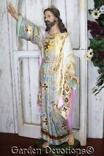 "23"" Risen Jesus Christ Statue Spanish Style Rose Tones Gilded Gold Highlights"