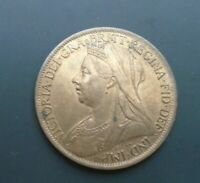 UK 1901 Victoria VIELED HEAD 1D PENNY SPINK 3961 UNC with lustre Cc1
