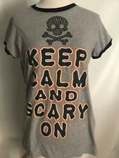 Juniors Women's Graphic Tee Shirt Keep Calm and Scary On Skull Cross-Bone SZ L