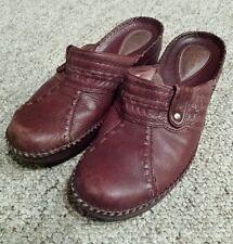 Clarks Artisan Collection Shoe Merlot Red Leather Flat Mule Slip On Footwear 7.5