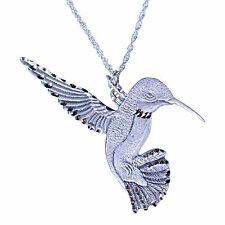 Pewter Silver Handmade Diamond Cut Jewelry Hummingbird Necklace