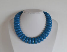 Blue Molded Plastic Or Resin Vintage 70's Runway Necklace Egyptian Revival
