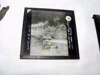 VINTAGE MAGIC LANTERN SLIDE OF A SEAPLANE AEROPLANE IN  EAST ASIA