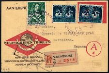 NETHERLANDS TO SPAIN CENSORED CARD 1944 RED CROSS PERFIN STAMP 'sGRAVENHAGEN