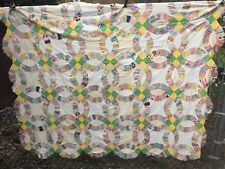 Antique Vintage 1930s Quilt Top ~ Double Wedding Ring
