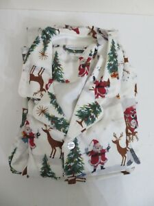 Pottery Barn Adult Santa Flannel Pajama Set LARGE L NEW 2 Piece