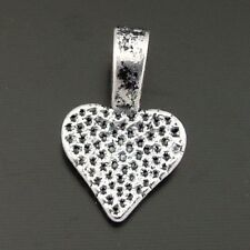 Antique Silver Alloy Heart Pendant Charm Bail Jewelry Finding 16*10*5mm 50PCS