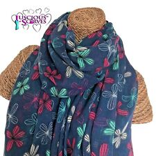 Floral Sketch Daisy Scarf Navy with Colourful Printed Flowers Superb Quality