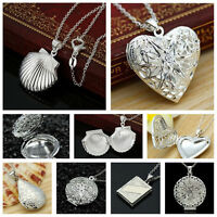 Women Charm Jewelry 925 Silver Filled Heart Locket Pendant Crystal Necklace