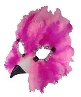 Adult Feathered Pink Flamingo Gems Masquerade Bird Animal Costume Half Eye Mask