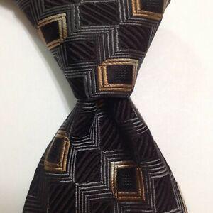 ERMENEGILDO ZEGNA Silk/Cotton XL Necktie ITALY Luxury Geometric Black/Gray EUC