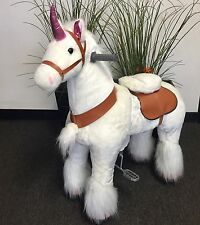 MEDIUM UNICORN Ride-on Giddy Up Rides, Horse, Pony-girls 4-10 yrs (02U) USA SHIP
