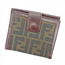 Fendi Wallet Purse Zucca Brown Black Woman unisex Authentic Used T5235