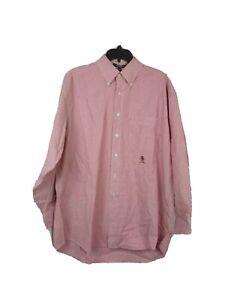 Tommy Hilfiger Mens Dress Shirt 16-1/2x33  Sz L Red White Stripe VTG Button down