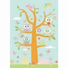 Whimisical Owl Family Critters Large Tree Wall Decal Sticker Set NEW