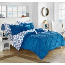 Blue White Pintuck Pleat Chevron Zig Zag 9 pc Comforter Set Twin XL Full Bed Bag