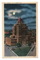 1940s Central YMCA Building Akron Ohio Linen Postcard Night Street View