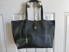 Black Vegan Leather Tote Bag/Red Interior with matching Pouch