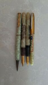 Lot Of 4 Vintage Used Foutain Pens& mechanical pencil For Parts Or Refurbishing.