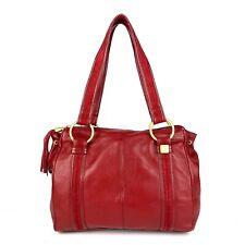 LINA Red Genuine Pebbled Leather Shoulder Tote Bag Tassel Fashion Casual Handbag