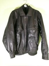 Vintage 90s Genuine Leather Jacket Collared Bomber Style M Medium