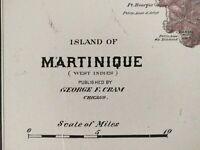 """MARTINIQUE 1900 Vintage Atlas Map 11""""x14"""" ~ Old Antique LE ROBERT LE MARIN"""