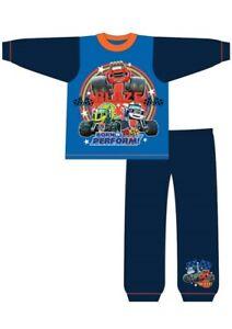 Boys Blaze Pyjamas Kids PJs Nightwear 18 Months to 5 Years Long Sleeve Blue