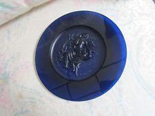 DAUM FRANCE BLUE PATE DE VERRE ART GLASS LTD. ED. PLATE L'HIVER (WINTER)