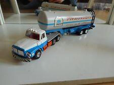 Tomica Dandy Nissan Diesel UD Truck + Petrol Trailer in White/Blue on 1:60