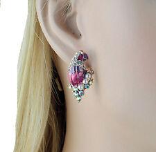 Parrot Enamel Faux Pearl Pink Austrian Crystal Rhinestone Stud Earrings E158