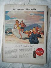 1945 VTG Coke Coca Cola Soda Original Magazine Ad Buddies In Brazil Navy Man