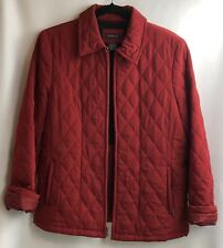 George Quilted Coat Women Sz Large Autumn Red Zip Pocket Jacket Career Workwear
