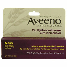 Aveeno Maximun Strength Anti-Itch Cream,1% Hydrocortisone 1 OZ (2 Tubes)