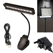 9 LED Flexible Clip-on Music Stand Reading Light Bed Table Desk Lamp Black