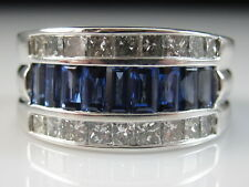 18K Sapphire Diamond Band Ring White Gold 2.50ctw Baguette Princess Anniversary
