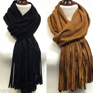 SUEDE EFFECT FRINGED SCARF AVAILABLE IN BLACK OR TAN BRAND NEW SKU IG2891