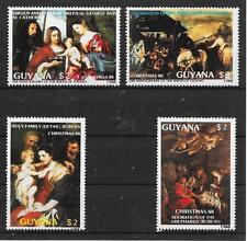 pa332 WEIHNACHTEN 1988-Gemälde-Tizian-Rubens/ Guyana MiNr 2410/13 **